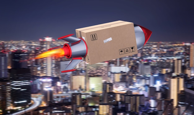 Fast delivery of package by turbo rocket. 3d rendering. fire, freight.