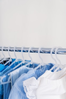 Fast fashion sustainable fashion minimalist wardrobe variety of female blue clothing on hanging on