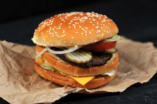 Fast food burger with cheese and beef