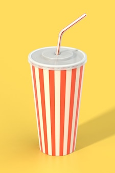 Fast food cola drink cup and drinking straw
