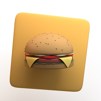 Значок быстрого питания с гамбургером, изолированные на белом фоне. приложение. 3d иллюстрации.