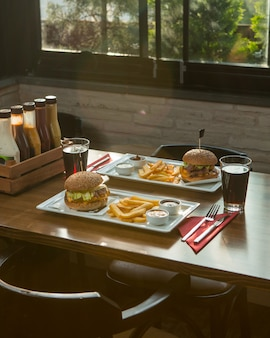 Fast food menu for two person in a cafe