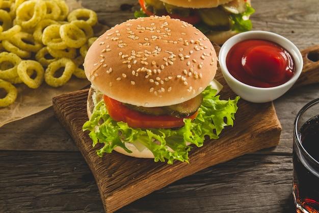Fast food menu with delicious hamburger