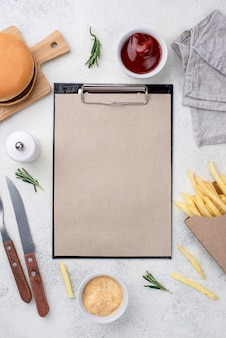 Fast food with clipboard