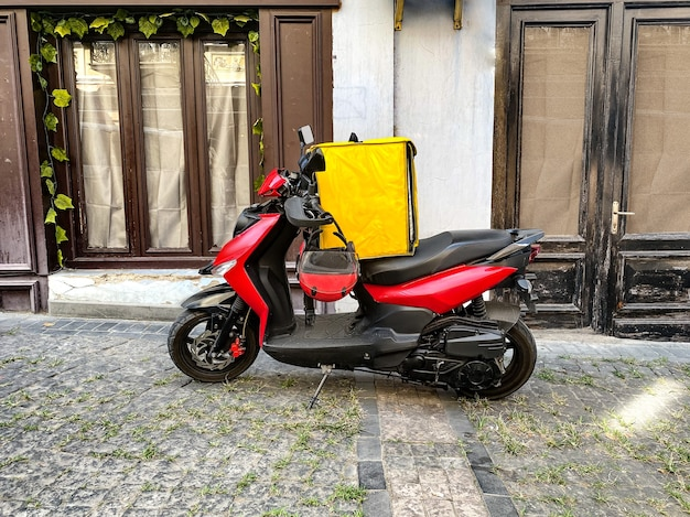Fast and free delivery food by scooter in the city