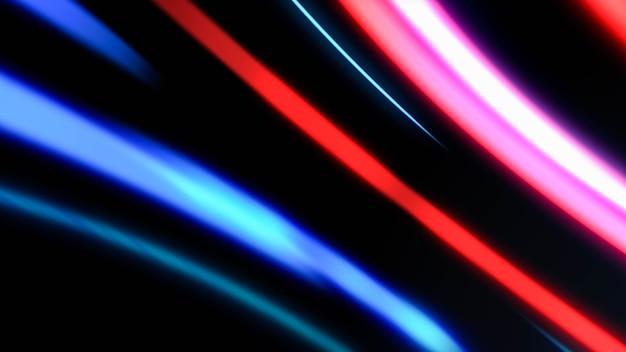 夜の道路を走る高速移動車のライト、都市生活のハイパーラプス交通輸送、長時間露光のカラフルなネオンライトトレイルラインスピードモーション