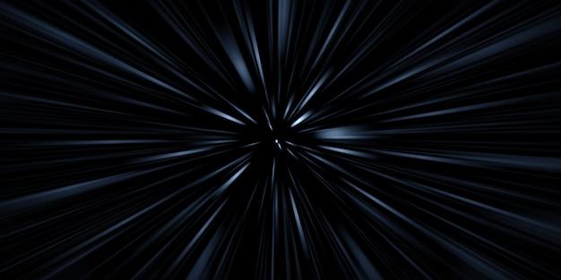 Fast moving light trails zoom explosion of light 3d illustration