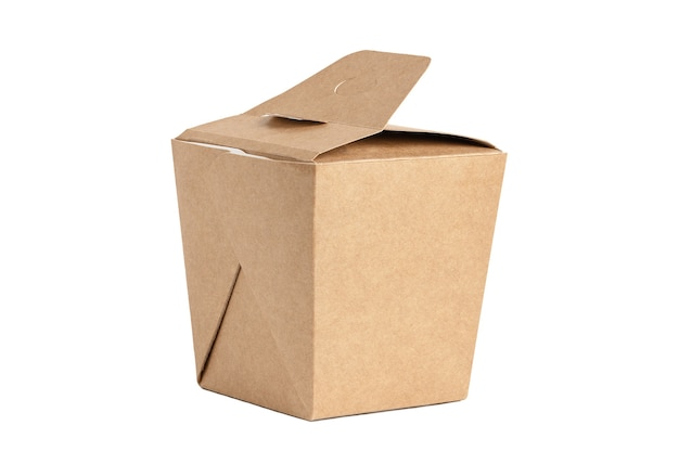Fast quarantined home delivery. unbranded cardboard box with lid. packaging for contactless product shipping. mockup style, copy space. blank copy space on case. boxing concept. isolated on white.