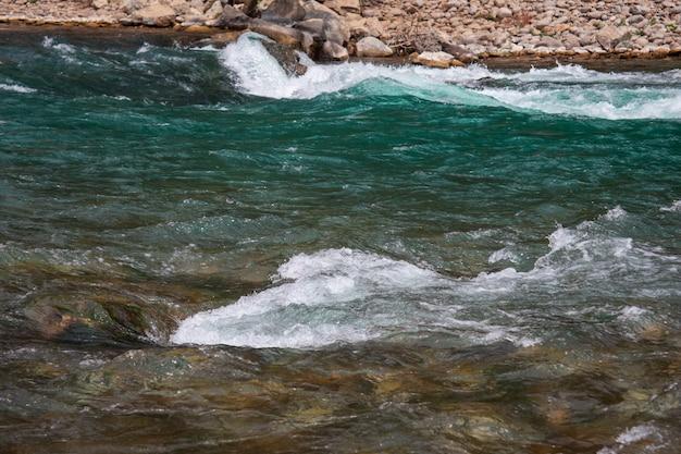 Быстрая река с порогами высоко в горах