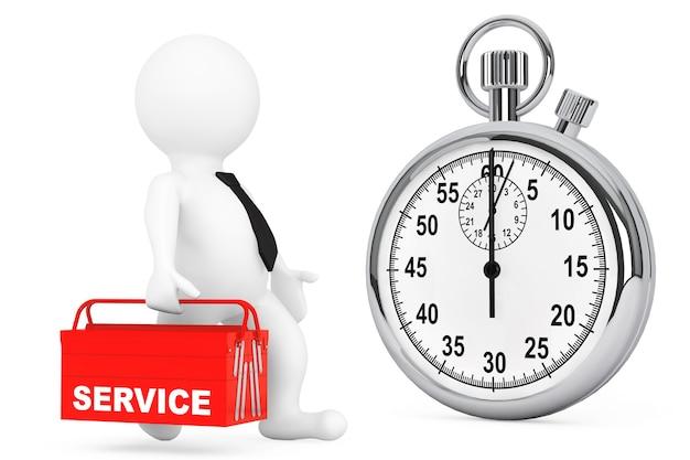 Концепция быстрого обслуживания. 3d человек с красным ящиком для инструментов и секундомером на белом фоне