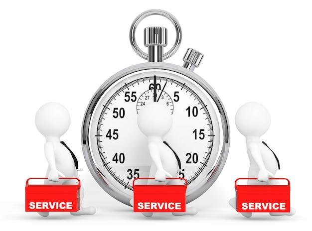 Концепция быстрого обслуживания. 3d люди с красным ящиком для инструментов и секундомером на белом фоне