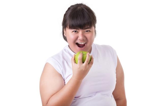 Fat asian woman wearing white t-shirt