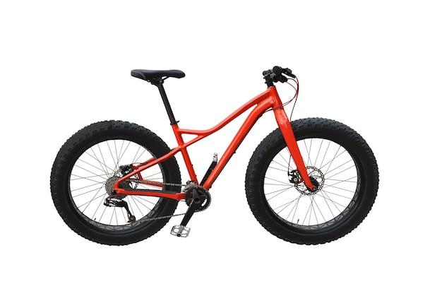 흰색 배경에 고립 된 빨간색 프레임 뚱뚱한 자전거 프리미엄 사진