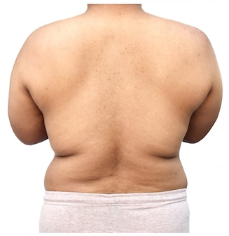 Fat body of man on white background