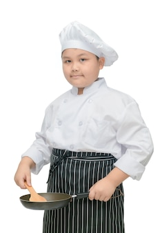 Fat boy chef hold flipper and pan isolated