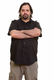 Fat caucasian man with arms crossed isolated on white