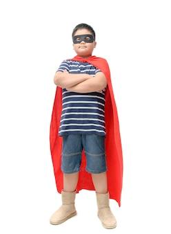 Fat child plays superhero isolated