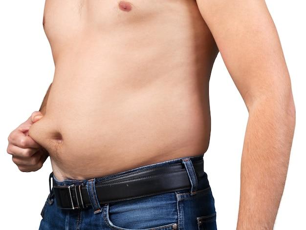 큰 배를 가진 뚱뚱한 남자. 다이어트 개념