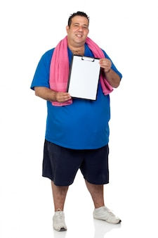 Fat man with a blank paper isolated on a white background