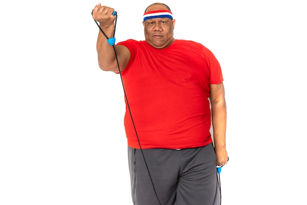Fat and obese black and african american man does exercise to lose weight