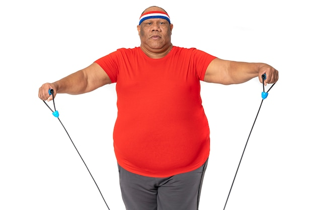 Fat and obese man does exercise to lose weight