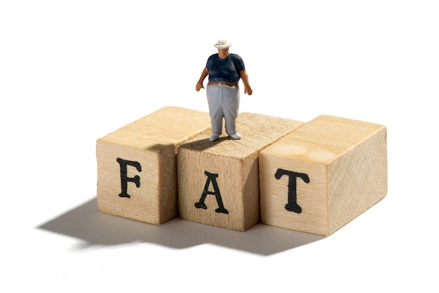 Fat, obesity and overweight concept with fat boy