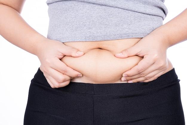 分離した過剰な脂肪腹を保持している太った女性