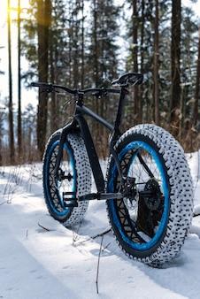 晴れた日の冬の森のファットバイク