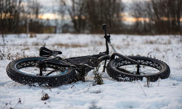 ファットバイクは冬の森にあります