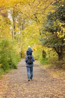 父と息子が肩を並べて秋の公園を散歩します。背面図