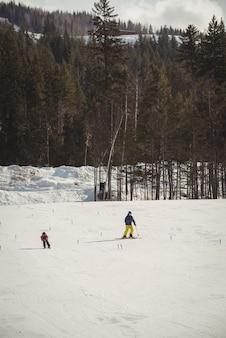 Отец и сын катаются на лыжах в снежных альпах