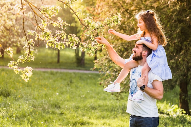 Father carrying his daughter on shoulder for touching tree branch