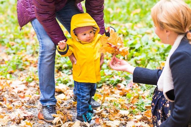 Отец, мать и сын гуляют. ребенок делает первые шаги с помощью отца в осеннем саду в городе