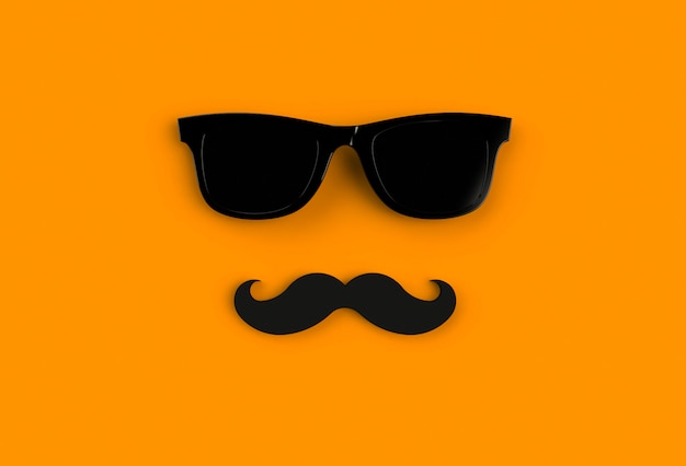 Father's day concept. hipster black sunglasses and funny moustache on orange background