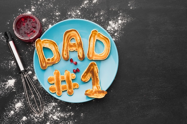 Father's day concept with pancakes
