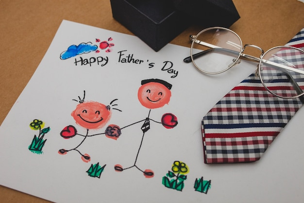 Father's day drawing with necktie and glasses