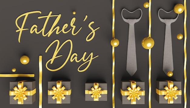 회색 넥타이가있는 아버지의 날 헤더와 주위에 금 활과 구체가있는 어두운 선물 프리미엄 사진