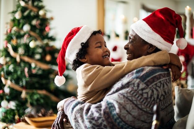 Father and son are enjoying christmas holiday