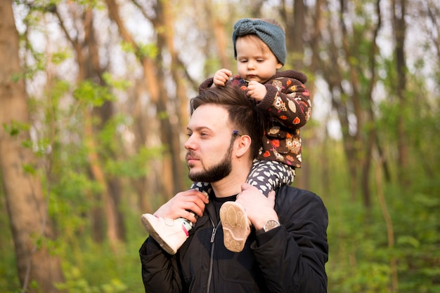 Father with child in nature