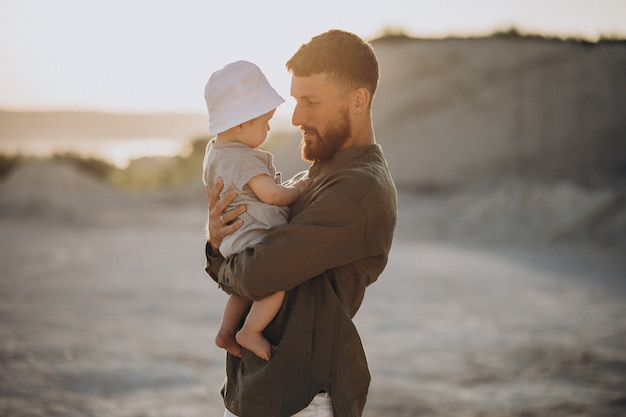 Father with his little son in a quarry
