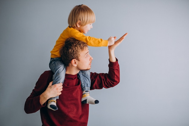 Father with his son having fun together