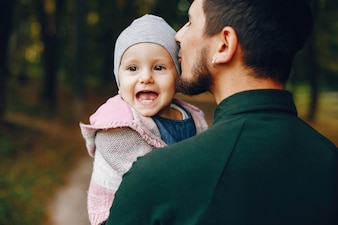 Father with little daughter