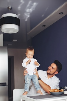 Father with son at home