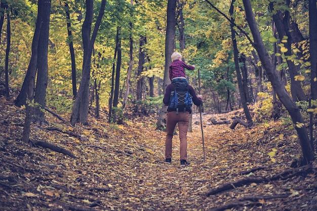 秋の森を歩く息子の肩を持つ父。背面図