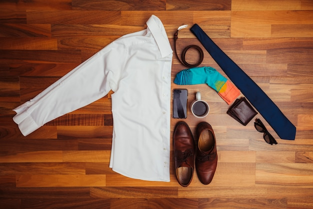 Fathers day composition with clothes