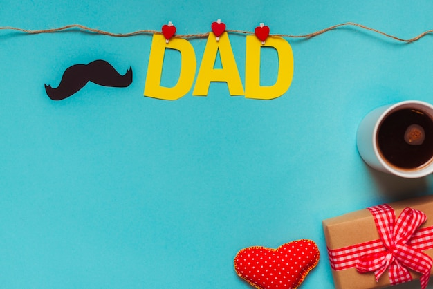 Fathers day composition with clothesline and copyspace