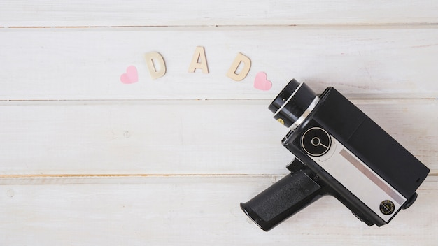 Fathers day composition with copyspace with camcorder