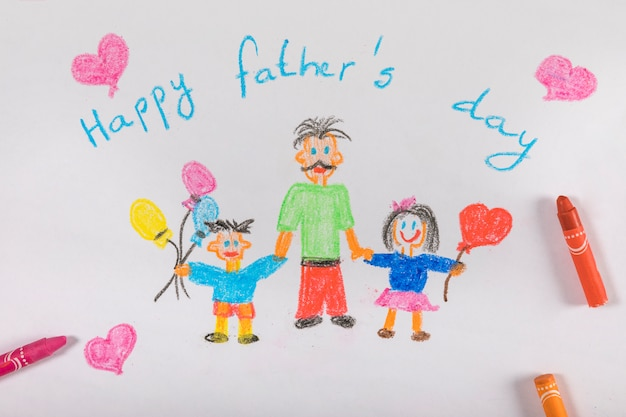 Fathers day composition with drawing