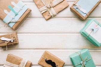 Fathers day composition with gift boxes