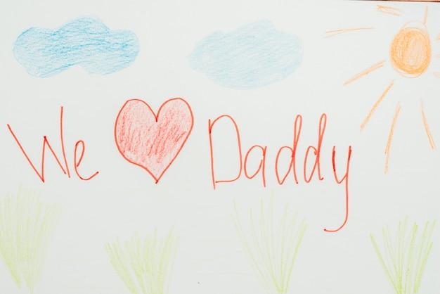 Композиция дня отца с рисунками детей